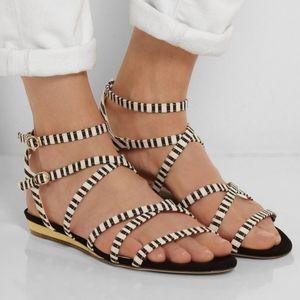 J. Crew Emmaline Striped Black White Strap Sandals